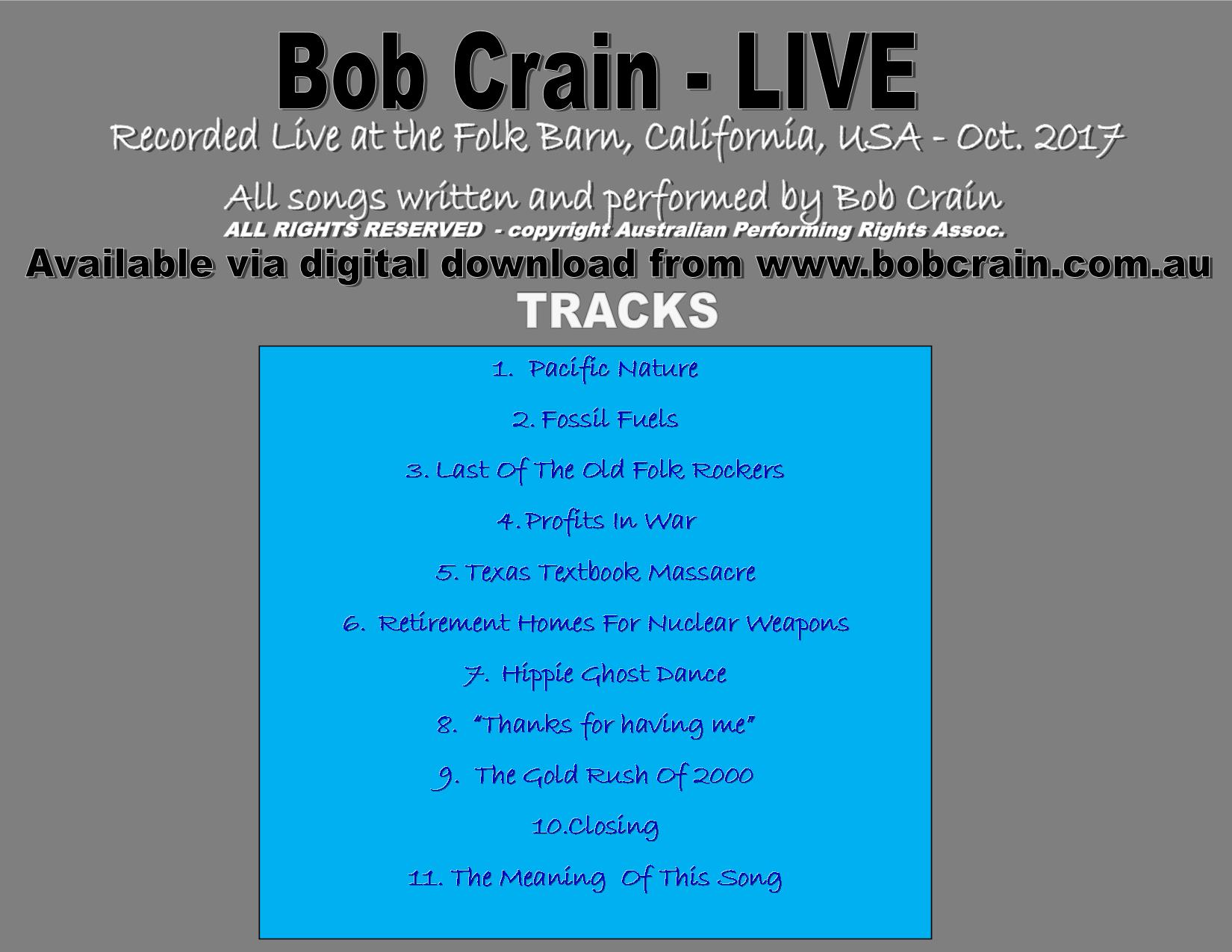 Bob Crain Live Back cover
